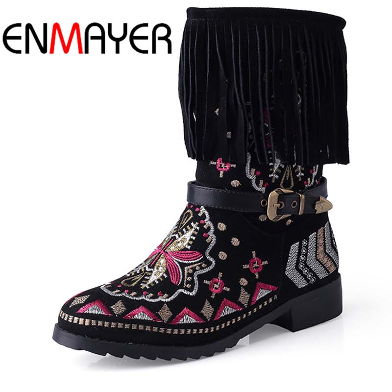 ENMAYER New Fashion Genuine Leather Boots Tassel Autumn Winter Boots with  Bohemia Ethnic Shoes boots for Women Snow Boots ethnic bohemia leaf tassel alloy anklet for women