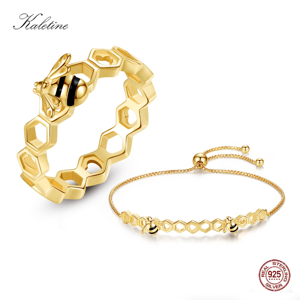 KALETINE Designer Jewelry Luxury Bee Honeycomb Bracelet