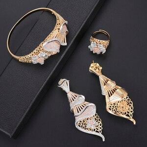 Image 2 - missvikki Dubai Gold color Jewelry Sets Bridal Gift Nigerian wedding accessories jewelry set Wholesale statement Brand jewelry