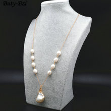 High Quality Natural Fresh Water Pearl Wire Wrapped Baroque Bead Pendant Linked Chains Necklace Fashion Waman Party Jewelry