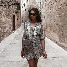 ZOGAA Women Snakeskin Printed Sweater Dress High Street A-line Dresses Ladies Half Sleeve Button Mini Vestidos