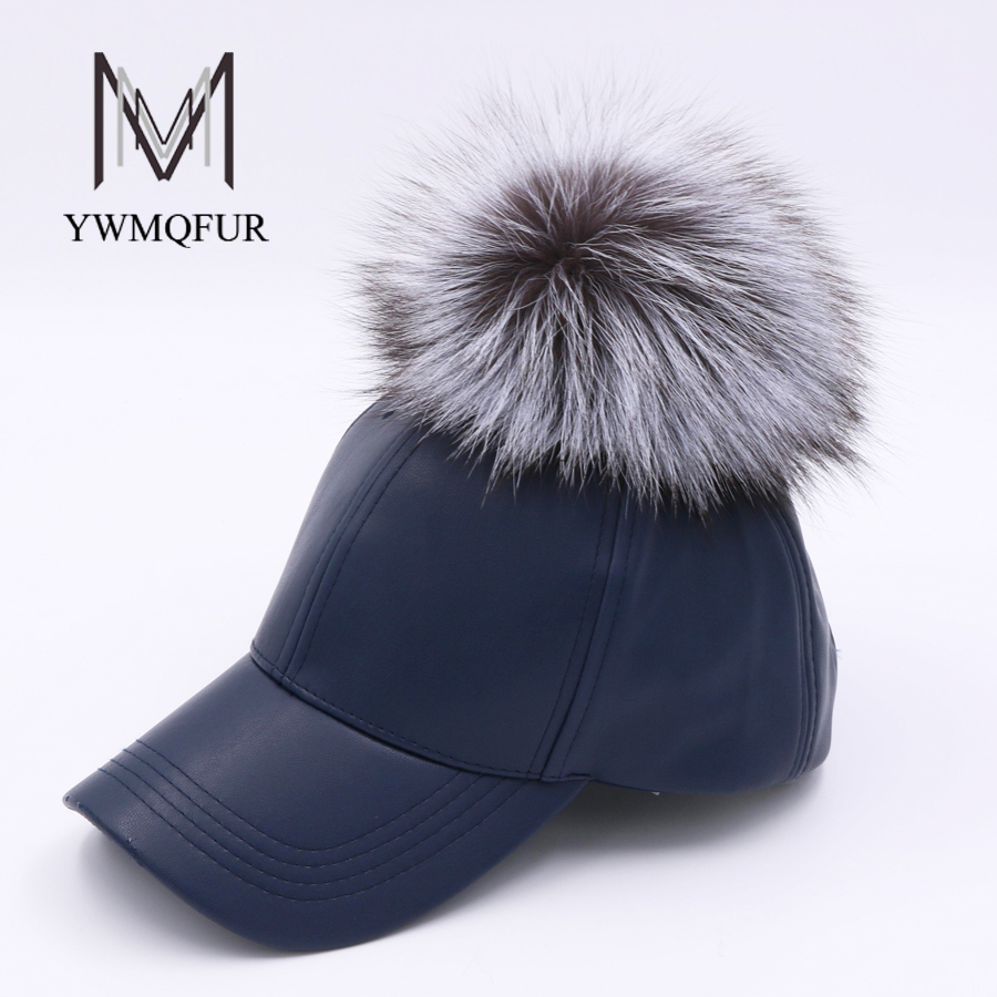 YWMQFUR 2017 New Winter PU Leather Baseball Cap With Fox Fur Ball Pom Pom Biker snapback Hats For Women And Men hats caps H104 2017 new lace beanies hats for women skullies baggy cap autumn winter russia designer skullies