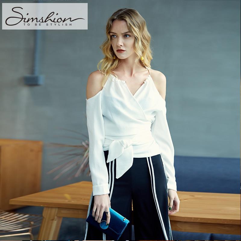 Simshion V Neck Cross Halter Off Shoulder Blouse Shirt Women Sexy Belted Full Sleeve White Blouse