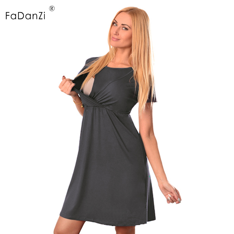 01975132445 2018 new maternity summer solid color round neck short sleeved pregnant  women breastfeeding maternity dress lactation clothes-in Dresses from Mother    Kids ...
