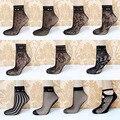 Summer de la nueva de la llegada de primavera mujeres sexy lady encaje negro suave Ruffle Tobillo Calcetines Mujeres de la Muchacha Calcetines de Rejilla Transparente de encaje Corto L3