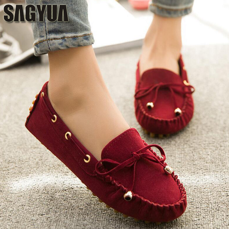SAGYUA Women Mujer Spring Round Toe Bowknot Adorn Female Casual Moccasins Fashion Frosted Suede Flat Slip-On Shoes Zapatos T274 sagyua hot fashion stitchwork rose spring students maiden women zapatos casual female sapatos flat shoes chaussures flattie t136