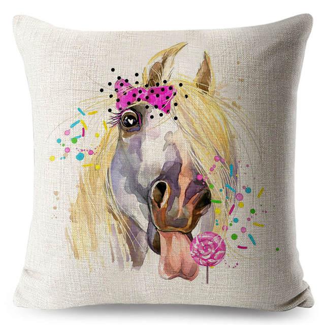FOKUSENT chevaux housse de coussin peint à la main Animal taie doreiller Vintage tête de lit décoration jet oreiller Rectangle carré personnalisé