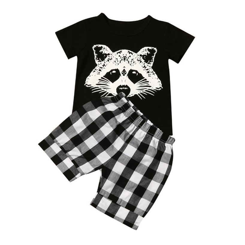 ARLONEET Enfant Bébé Garçon Renard T shirt Tops Plaid Shorts Pantalons Tenues Vêtements Set Feb7/P