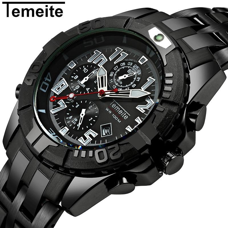 mens watches luxury black gold quartz 316L stainless steel Simple man wristwatch temeite brand men's clocks waterproof calendar 8159 acb07 new tab cof ic module