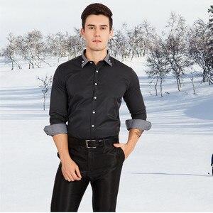 Image 4 - VISADA JAUNA Camiseta de manga larga para hombre, camisa masculina de manga larga con estampado de retales de algodón, informal, ajustada para oficina, talla europea, 2018