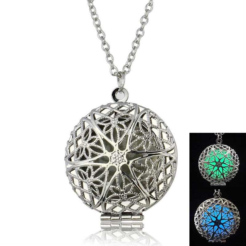 Glow In The Dark Necklaces Pendant For Women Jewelry Round Hollow Locket Glowing Stone Statement Necklaces Black Friday 2016