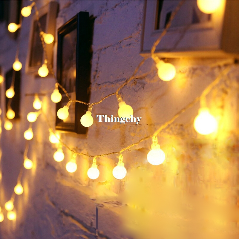 AC220V 5M 28LED Cherry Ball lampu tali mentol Garland LED hiasan Krismas Festival outdoor Wedding Garland Home Decor