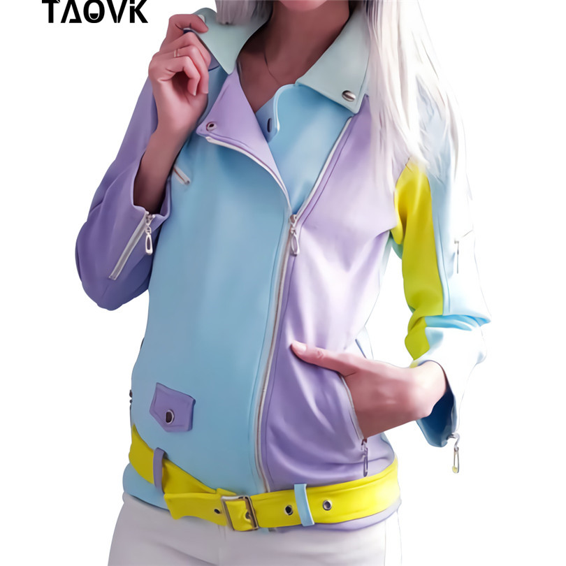 TAOVK Suede Fairy   Basic     Jackets   Colorblock Cut lapel Coats zippers design Belted Cool Motorcycle   Jacket   blue purple yellow