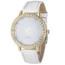Часы Для женщин Часы горный хрусталь Relogio feminino Модные прозрачные искусственная кожа кварцевый Женский Часы Montre Femme