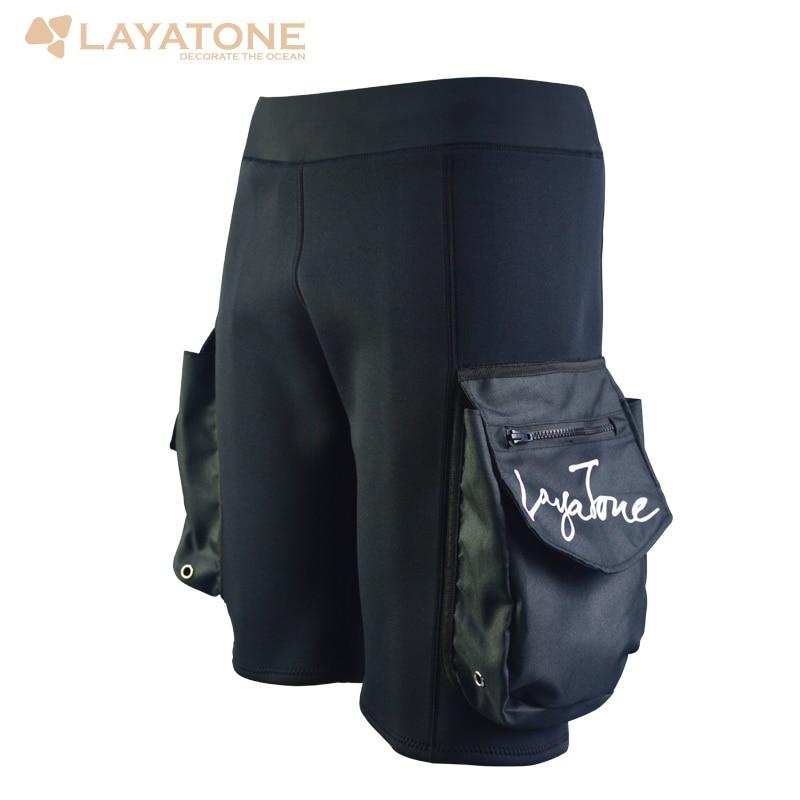 Freeshipping Layatone Black 3mm Neoprene Shorts Snorkeling Scuba Diving Surfing Short Pants Wetsuit With Large Pocket