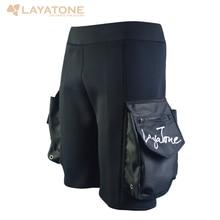 LayaTone 3mm Neoprene Diving Shorts Men Surfing Snorkeling Wetsuit Tech Short Swimming Rowing Sailing Scuba Diving Pocket Pants