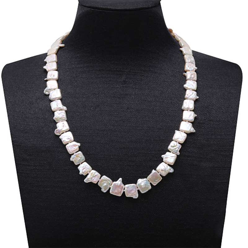 JYX Classic White Baroque Freshwater Cultured Biwa Pearl Necklace Wedding Jewelry For Women AAA 18.5