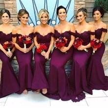 Bridesmaid-Dresses Plus-Size Satin Lace Wedding Party Burgundy The-Shoulder Mermaid-Off