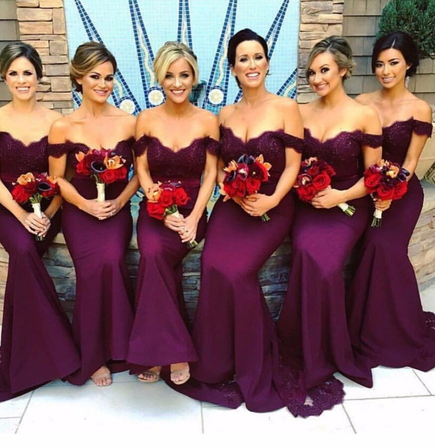 Burgundy 2019 new Mermaid Off the Shoulder Satin Lace Long Cheap   Bridesmaid     Dresses   Wedding Party   Dresses   With Train plus size