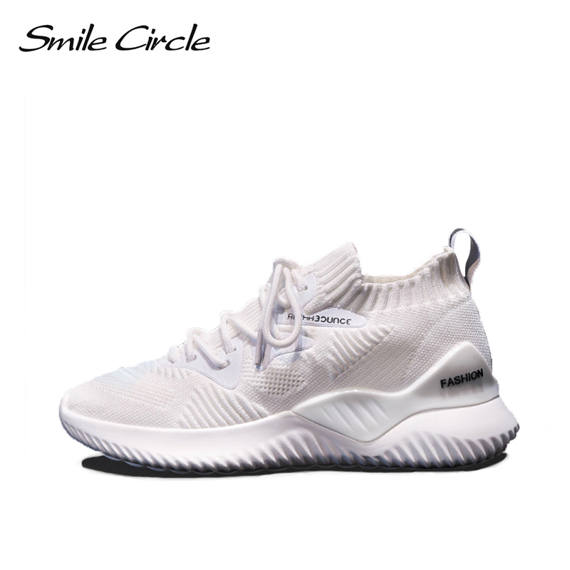 Smile Circle kniting Sneaker for women 2019 Spring autumn Fashion Lightweight Breathable sneaker Outdoor Casual flat