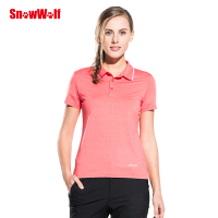 SNOWWOLF Outdoor Summer Women Short Sleeve T Shirt Quick dry UV Protection Breathable Solid Female Polo T Shirt