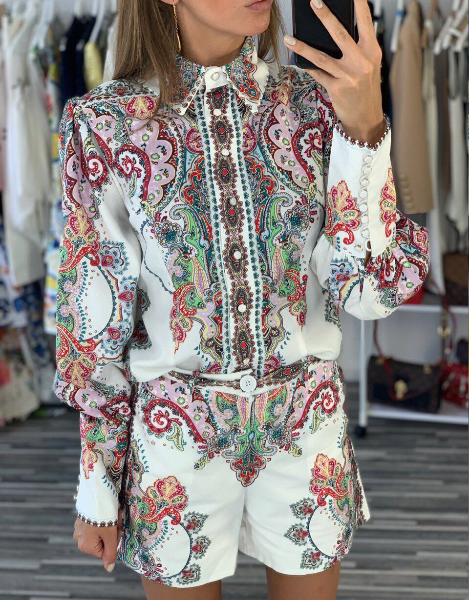 2019 New arrive Vintage printed women sets floral pattern long sleeve Top and short pants