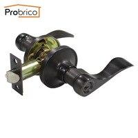 Probrico Stainless Steel Entrance Lock Security Door Lock With Key Wave Style Door Handle Knob Oil Rubbed Bronze DL12061ORBET
