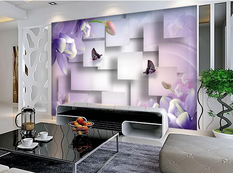 Anpassen Luxus Tapeten Lila Dielianhua 3d Wandbilder Wallpaper Home Decor Wohnzimmer Tapete ModerneChina