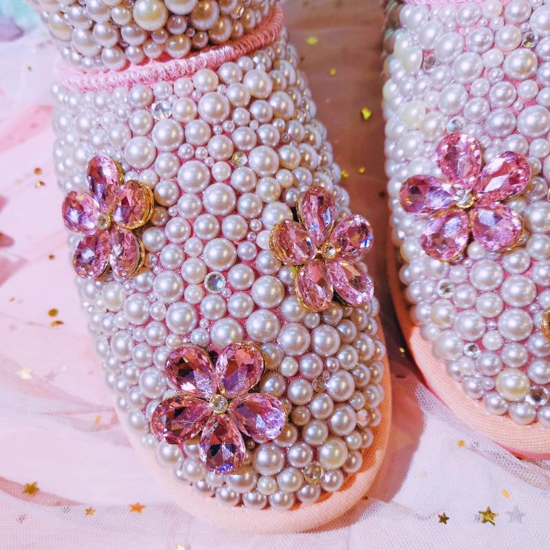 Boot Fur Cuero Invierno Perlas Mujeres Cálido Botas Cristales 2018 Verdadero Genuino Las Ovejas Hecho Nieve Flor De A Diamante Mano Lujo wqPBUHO