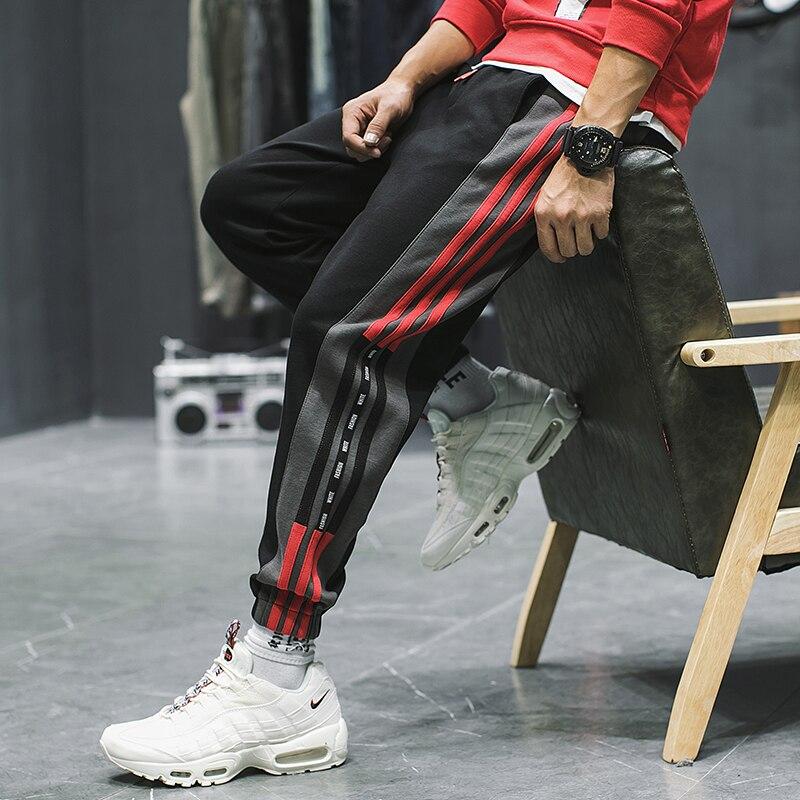 hip hop joggers loose japanese sweatpants stripe pants men fashion trousers harem gym preppy style casual pants kleding plus