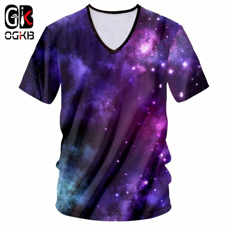 OGKB New Arrival Tops Men/women's 3D Printing Purple Galaxy Space Tshirt Girl Fashion Sexy Deep V Neck T-shirt Unisex Tee Shirts