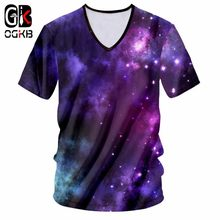 OGKB New Arrival Tops Men/women's 3D Printing Purple Galaxy Space Tshirt Girl Fashion Sexy Deep V Neck T-shirt Unisex Tee Shirts(China)
