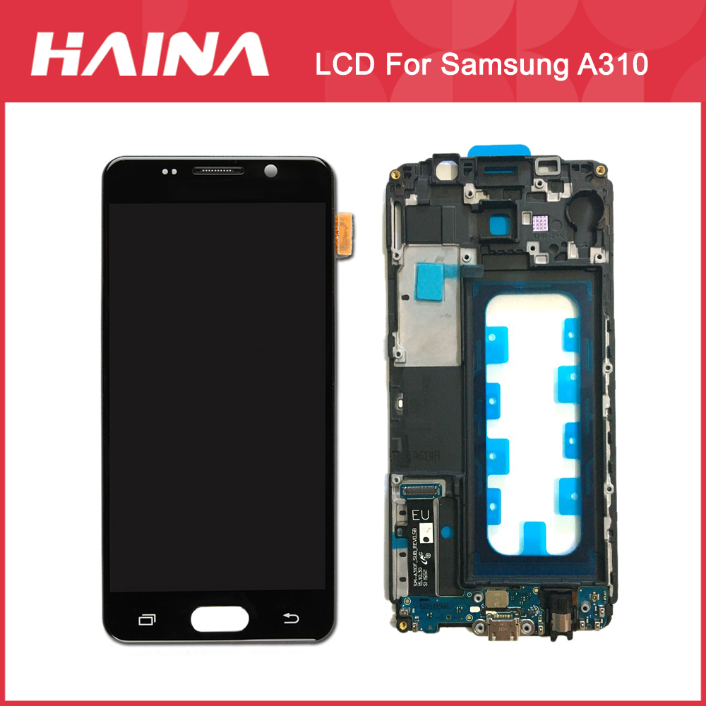 Super AMOLED <font><b>A310</b></font> <font><b>LCD</b></font> Für <font><b>Samsung</b></font> <font><b>Galaxy</b></font> A3 2016 <font><b>LCD</b></font> A310F Display Touchscreen Digitizer Sensor Rahmen SM-<font><b>A310</b></font> <font><b>Original</b></font> Display image