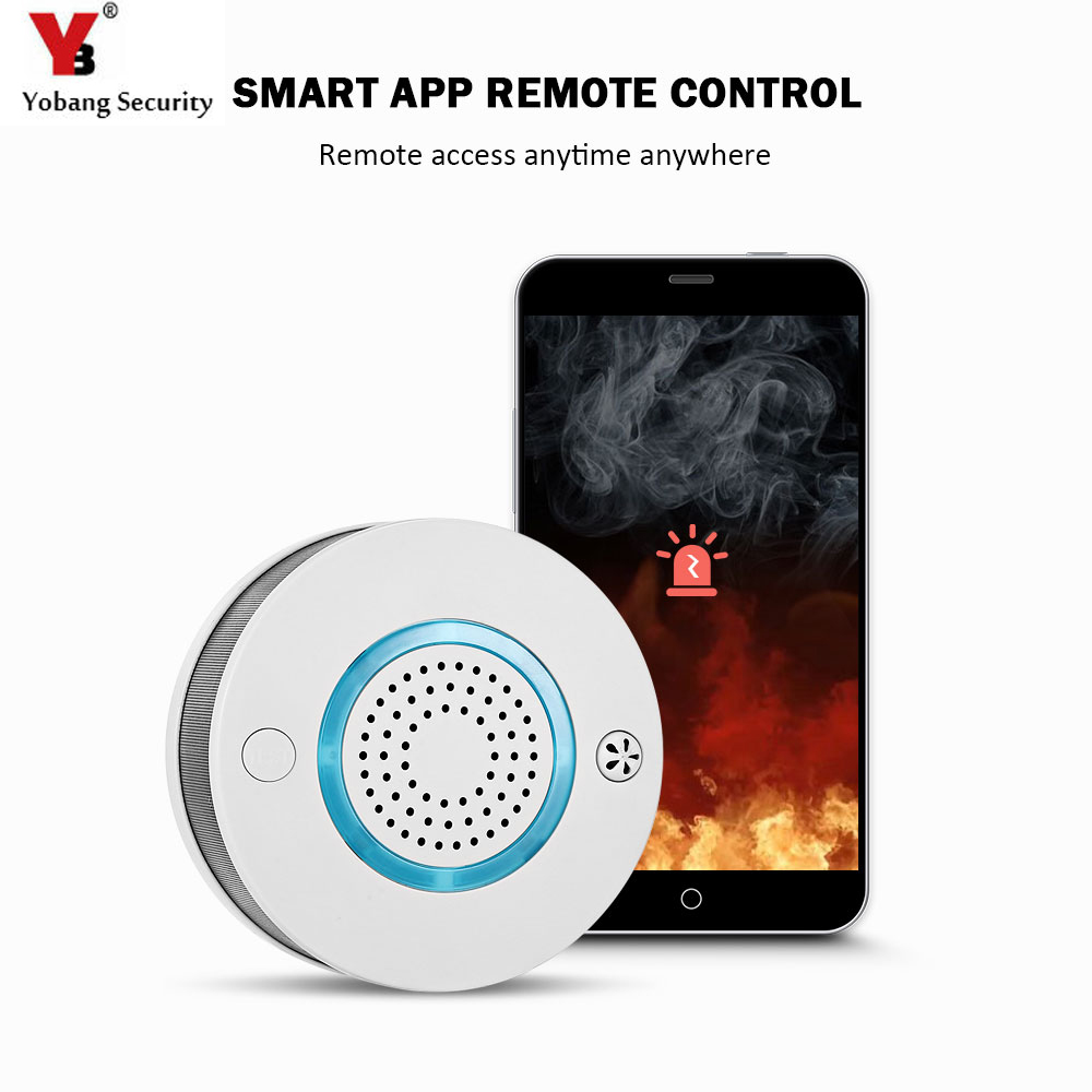 Yobang Security WiFi Wireless High Sensitive 2 in 1 Smoke Fire Alarm Detector Sensor Voice Warning App Control Monitor For Home