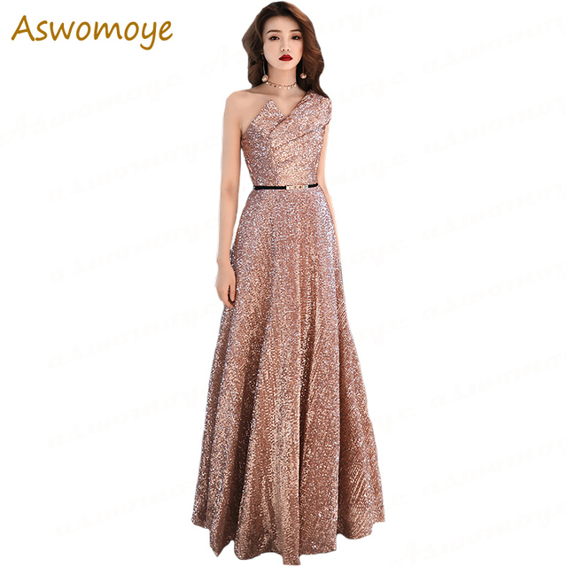 Aswomoye Elegant Shinning Evening Dress 2018 New One Shoulder Special Occasion  Dresses Prom Party Dress Backless robe de soiree b117aa3a80da