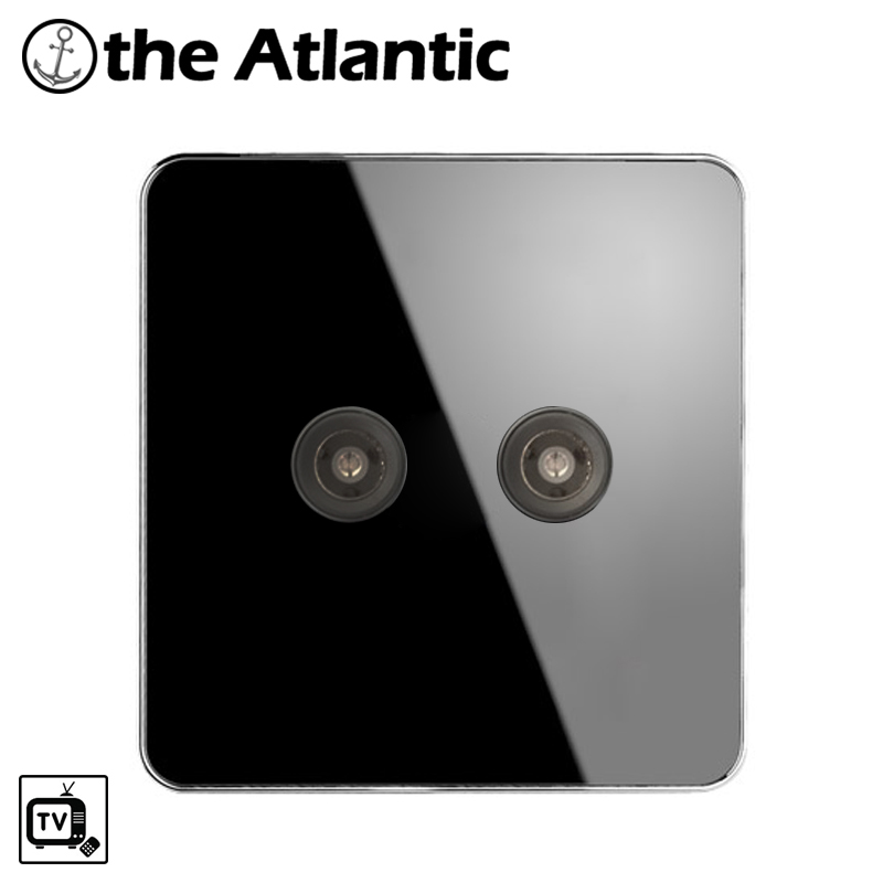 Atlantic Brand TV Double Socket Luxury Wall Television Outlet Acrylic Crystal Mirror Panel Electrical Jack TV universal socket dixinge high quality brand german standard socket wall socket tv outlet silvery were pc material panel b120 l134