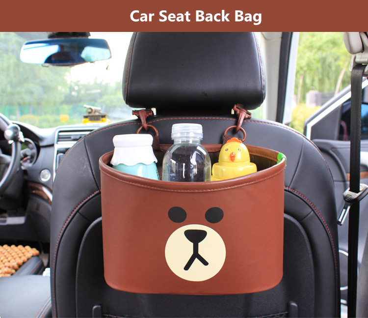 Cute Cartoon Brown Bear Chicken Car Back seat Hanging Storage Bags