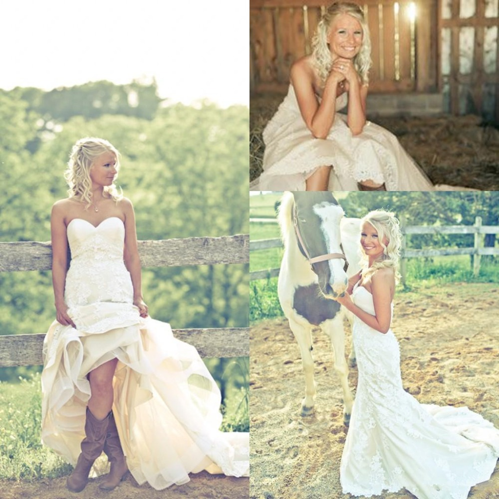 Sweetheart Lace Wedding Dress: Bride In Cowgirl Boots Country Wedding Dresses 2019