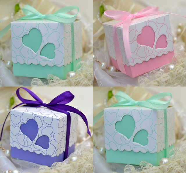 100pcs Mint Green / Pink / Purple Wedding Favors Square Heart ...