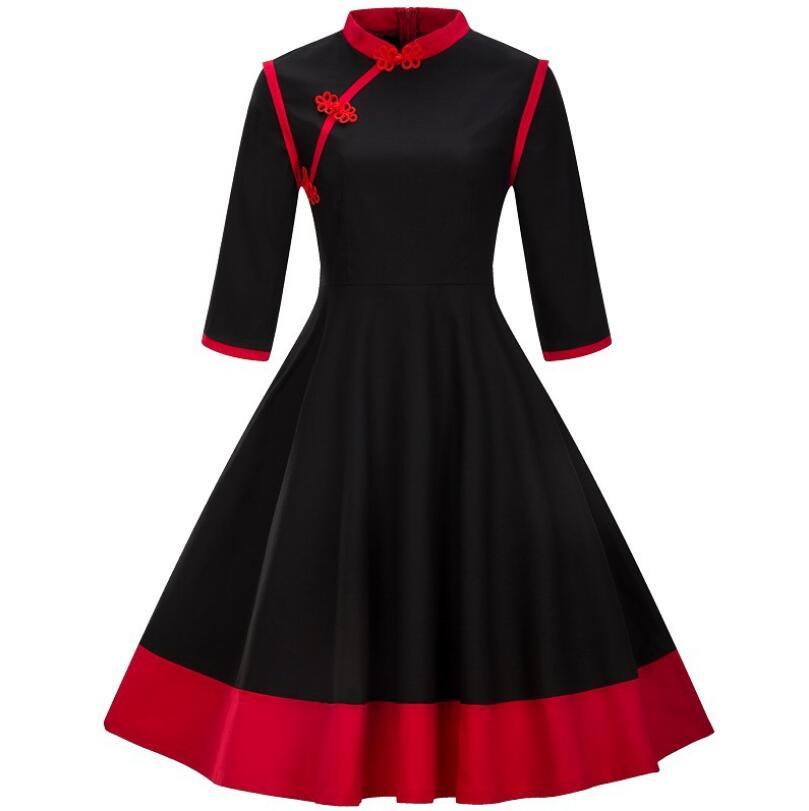 Vintage robe 1950 S printemps noir Patchwork ligne robe Qipao cou élégant rouge trois quarts avec taille haute nouveau