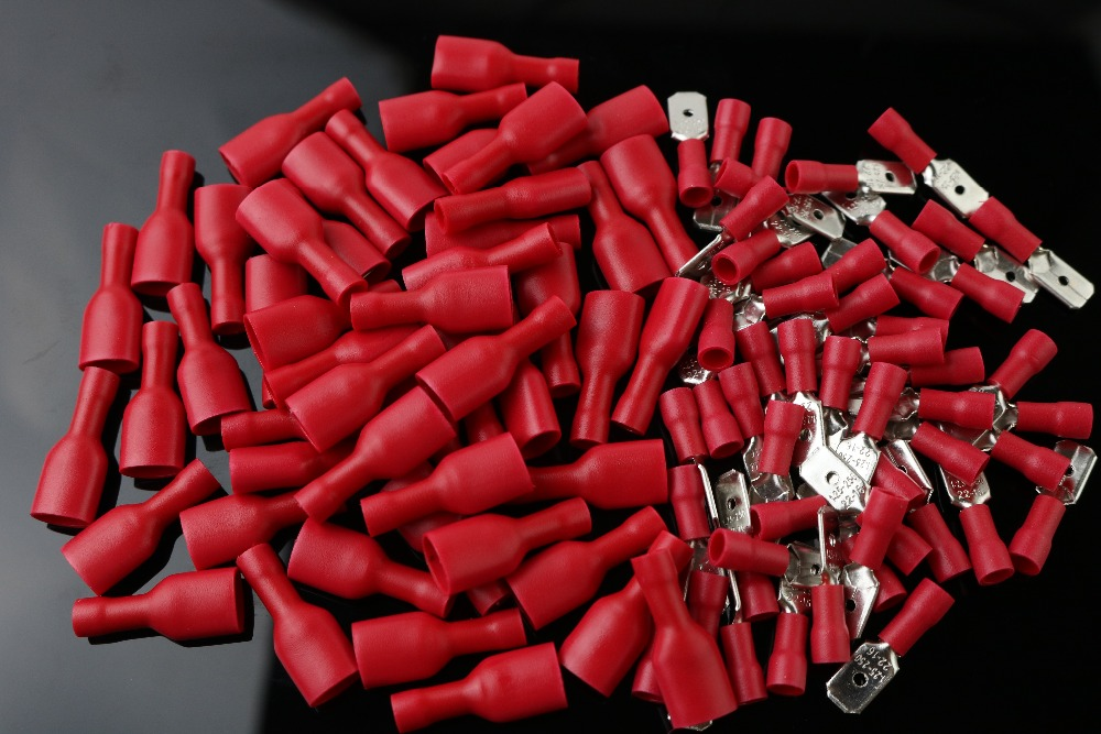 50pcs red flat FDFD Female+Male Spade Insulated Electrical Wiring Crimp Terminal Connector red цена