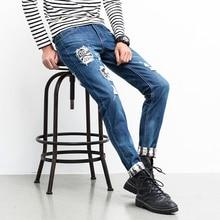 Men Jeans Ripped Biker Hole Denim robin patch Harem jeans for men Pants