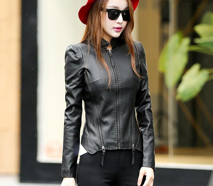 2018 New Autumn Leather Jacket Women Black Color Mandarin Collar Zippers Short Female Faux Leather Jackets 5