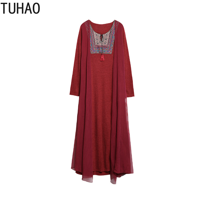 2018 Black Red Autumn Vintage Women Winter Tuhao Long 3xl Embroidery 4xl Gray Dress Size Olz Party burgundy Maxi Plus Dresses Retro 85fxdzwznq