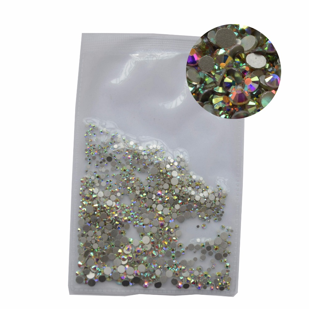 Mix Sizes 1000PCS/Pack Crystal Clear AB Non Hotfix Flatback Rhinestones Nail Rhinestones For Nails 3D Nail Art Decoration Gems strass glass ab rhinestones non hotfix ss20 4 8 5 0mm for 3d nails art design decorations crystal for nails gel nail accessories