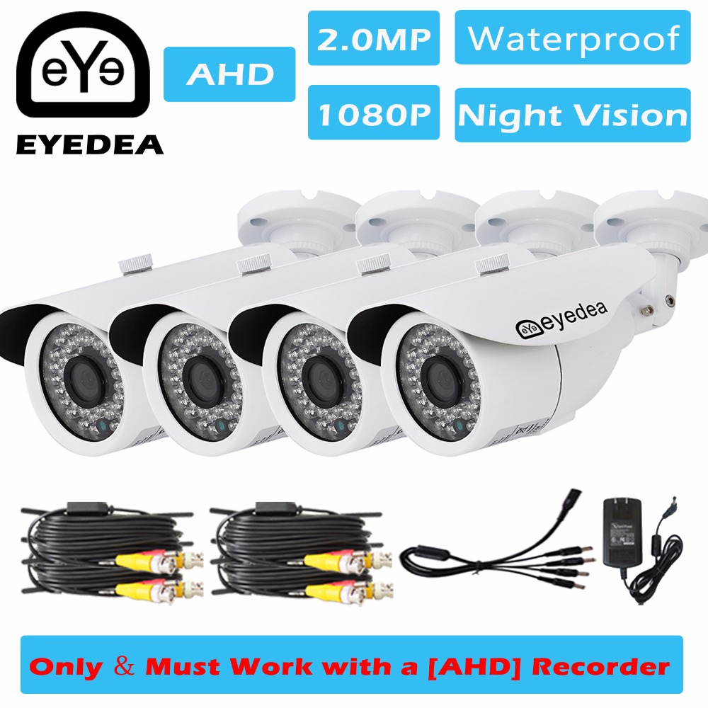 Eyedea 4x 1080P 2.0MP Bullet White CMOS IR LED Outdoor Waterproof Video Surveillance Home CCTV Security Camera for AHD Recorder jooan waterproof 1 4 cmos hd bullet security cctv camera w 36 ir led silvery white pal secam