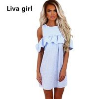 2017 Summer Sundress Off Shoulder Ruffle Shirt Dress Vestidos Casual Loose Sexy Work Office Beach Dresses