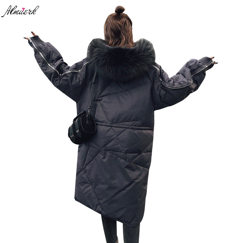 2017 winter women jacket casual hooded fur collar parkas female large size thicker warm women winter cotton outerwea L091