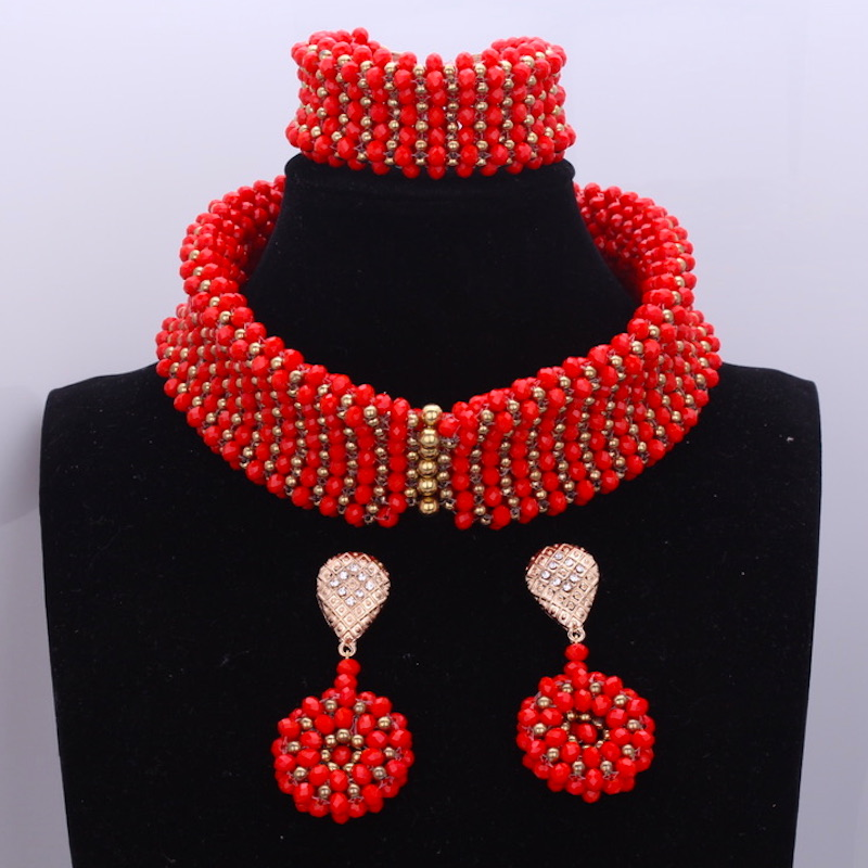 Dudo Jewelry Trendy Bridal Necklace Set Choker Nigerian African Beads Wedding Jewelry Set For Women Red Gold 2018 Free Shipping hot red statement choker necklace african wedding beads for women set dubai costume bridal lace jewelry set free shipping abf550