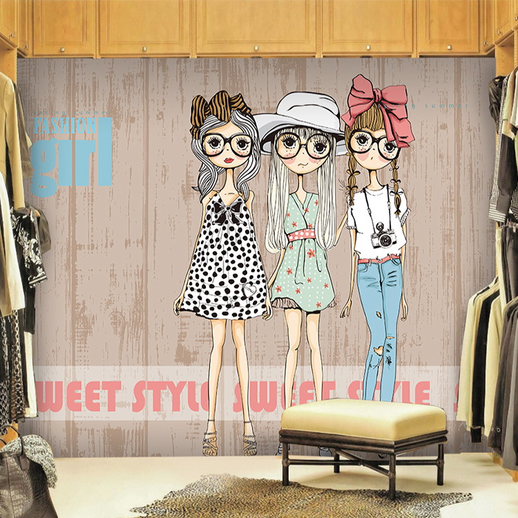 Free shipping character theme black and white line for Fashion style wallpaper